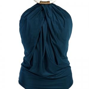 bañador entero drapeado atado al cuello con collar