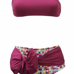 bikini bordeaux y fantasia alto de cintura con lazo en la braga