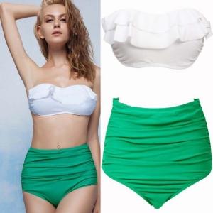 bikini sujetador volant, braga alta de cintura y drapeada