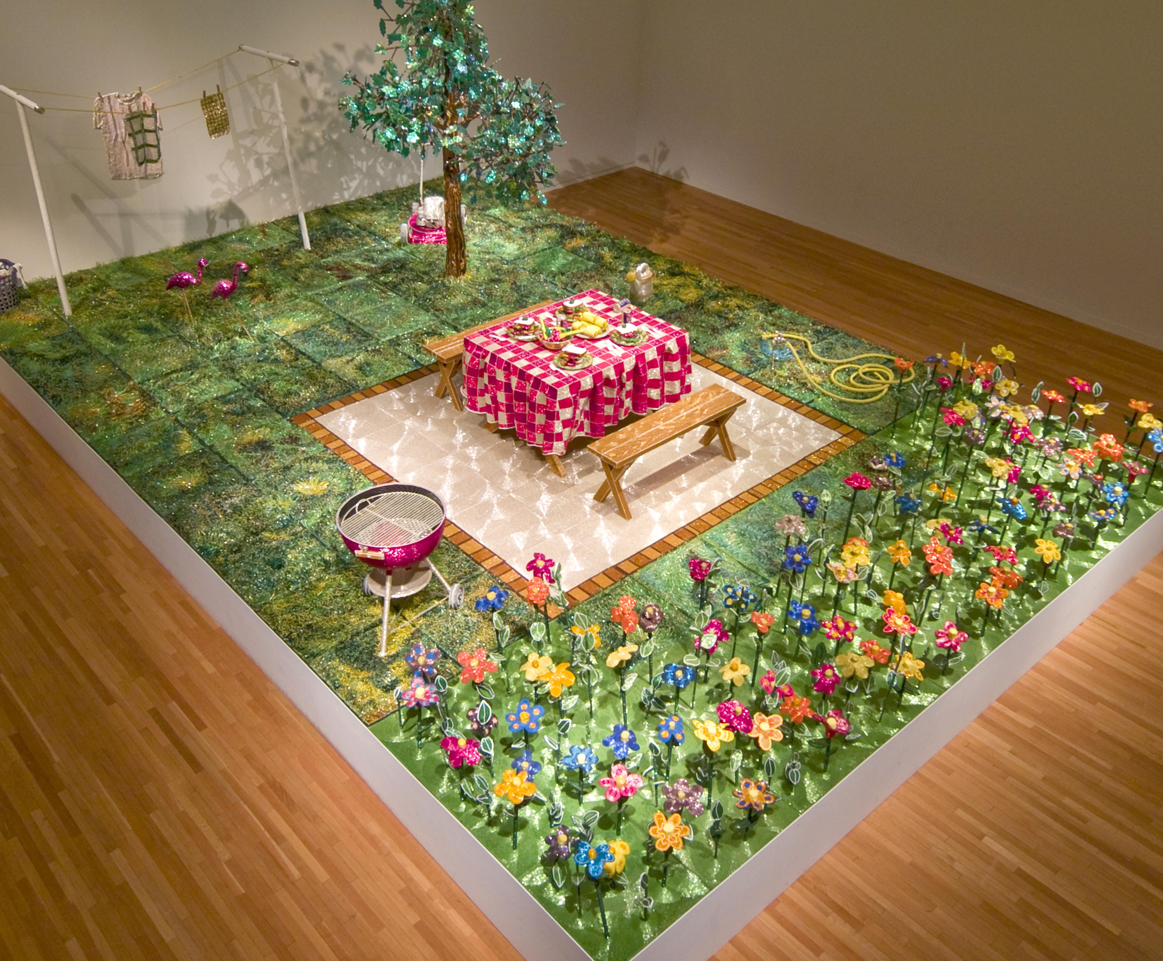Jardín con picnic todo en pe